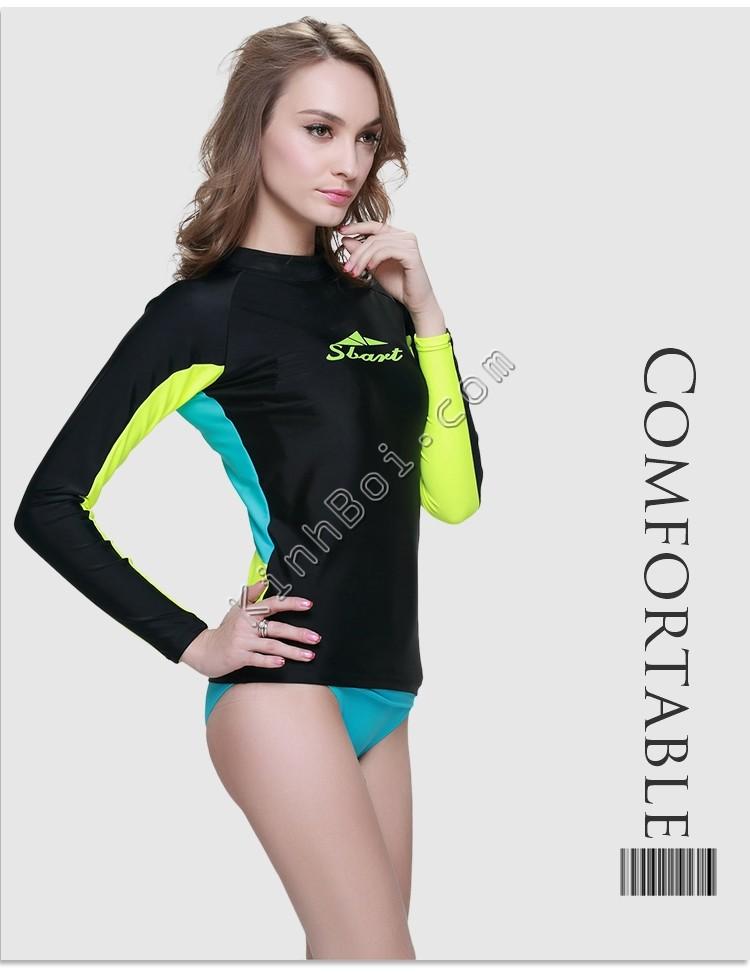 áo bơi dài tay nữ - Sbart 923 Đen tay vàng lưng xanh