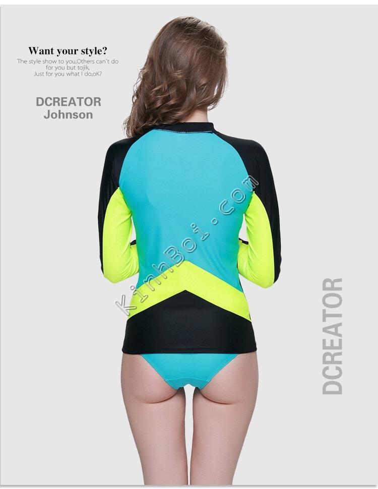 áo bơi dài tay - cho nữ - sbart 923 - đen lưng xanh tay vàng