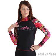 Áo Bơi Dài Tay Nữ Sbart 916 Đen Hoa