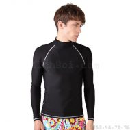 Áo Bơi Nam Dài Tay Sbart 702 - Đen Chỉ Trắng