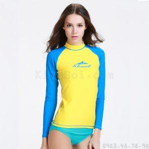 Áo Bơi Dài Tay Nữ Sbart 916 - Vàng Tay Xanh