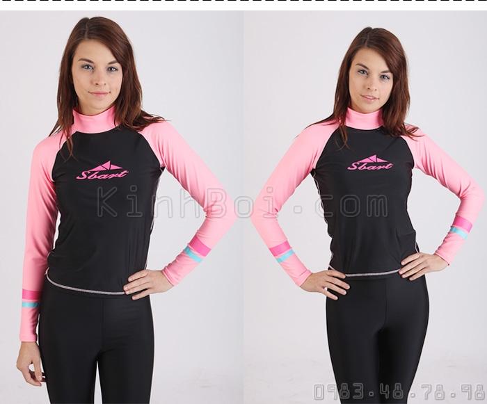 Áo Bơi Dài Tay Nữ Sbart 916 - Đen Tay Hồng