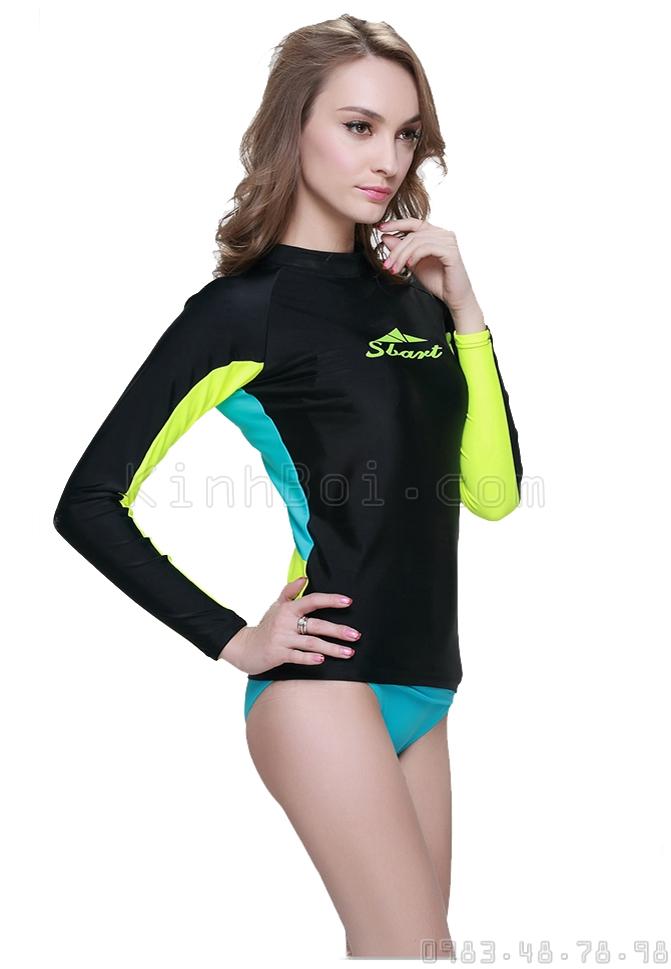 Áo Bơi Dài Tay Nữ Sbart 923 Đen Tay Vàng