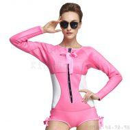 Bộ Bơi Liền Giữ Nhiệt Nữ Wetsuit Sbart 946 Hồng Trắng