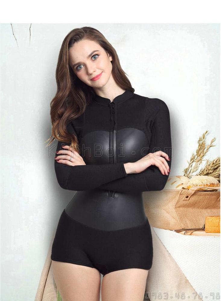 Bộ Bơi Liền Giữ Nhiệt Nữ Wetsuit Sbart 956 Đen