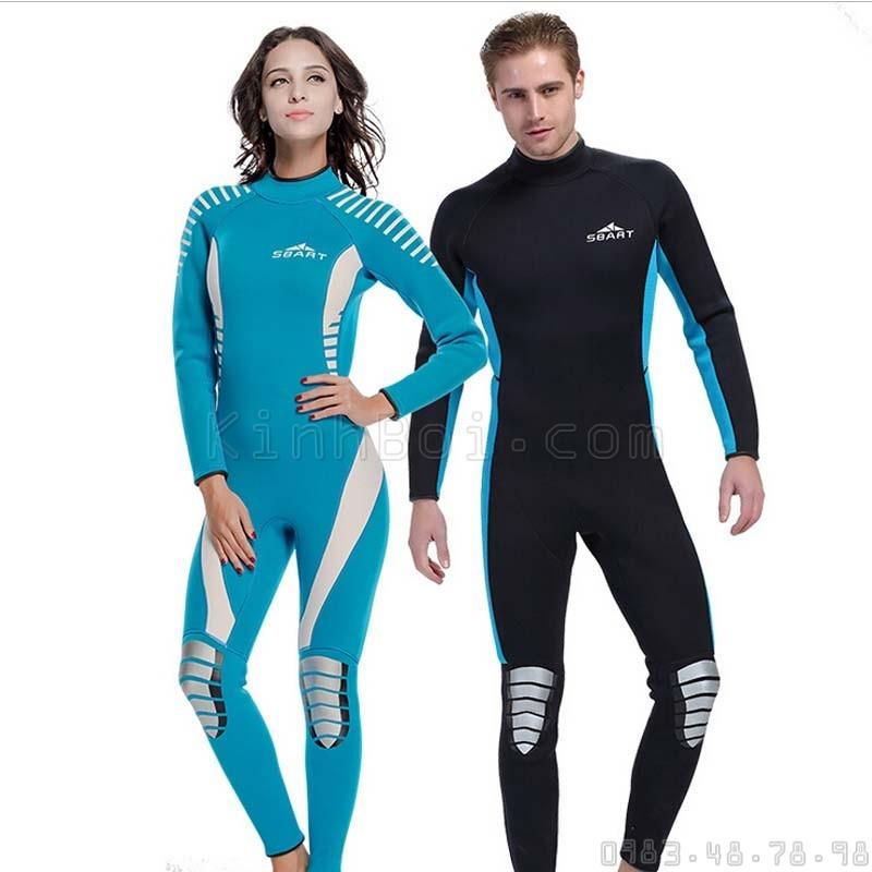 Bộ Bơi Liền Giữ Nhiệt Wetsuit Nữ Dài Tới Gót Xanh Trắng