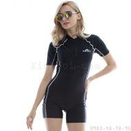 Bộ Bơi Liền Thân Ngắn Tay Sbart 8046 Đen Chỉ Trắng