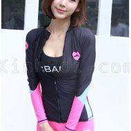 Áo Bơi Dài Tay Nữ Sbart D65 Đen Hồng Kéo Khoá