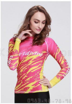 Áo Bơi Nữ Dài Tay Sbart D30 Hồng Vàng