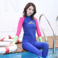 Áo Bơi Dài Tay Nữ Sbart 939 Xanh Tay Hồng