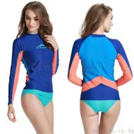 Áo Bơi Dài Tay Nữ Sbart 923 - Xanh Tay Cam