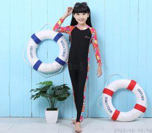 Bộ Bơi Liền Thân Tới Gót Bé Gái Blue Ocean - Đen Hoa