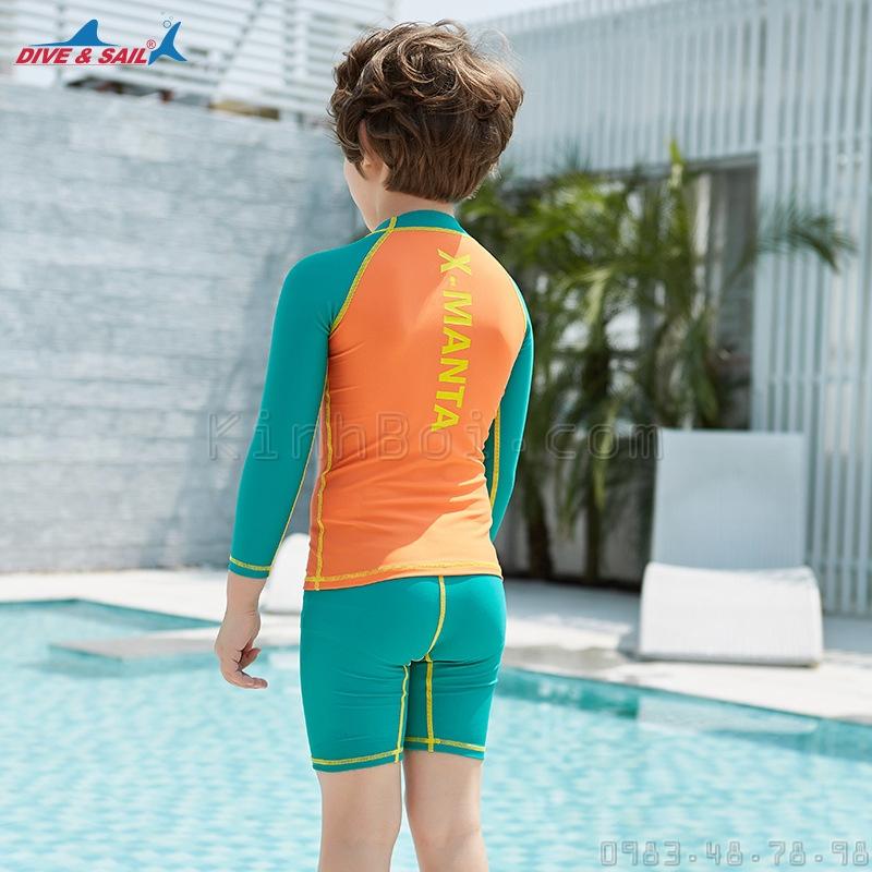 Bộ Bơi Dài Tay Bé Trai DS35 Cam/Xanh Lá