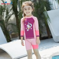 Bộ Bơi Dài Bé Gái DS32 - Hồng Tím