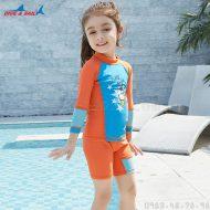 Bộ Bơi Dài Tay Bé Gái DS32 - Cam Xanh