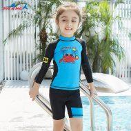 Bộ Bơi Dài Tay Bé Gái DS33 - Xanh Đen