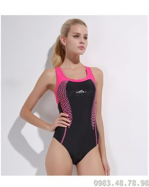 Bộ bơi liền thân nữ khoét nách 8012 Đen Hồng