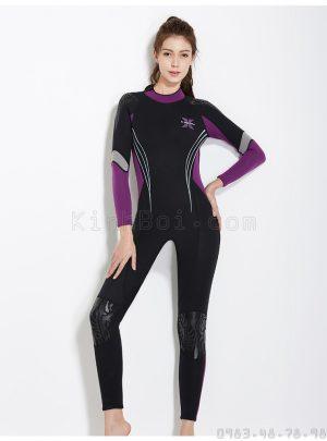 Bộ Bơi Liền Nữ Giữ Nhiệt Dày Wetsuit 3mm Đen