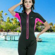 Bộ Bơi Liền Giữ Nhiệt Wetsuit Sbart Đen Hồng Dài Tới Đùi Dày 2mm