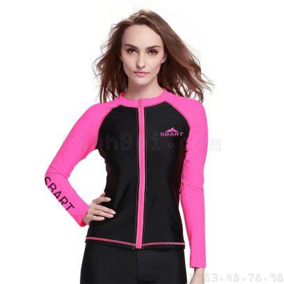 Áo bơi dài tay nữ chống nắng Sbart 950 Đen Hồng