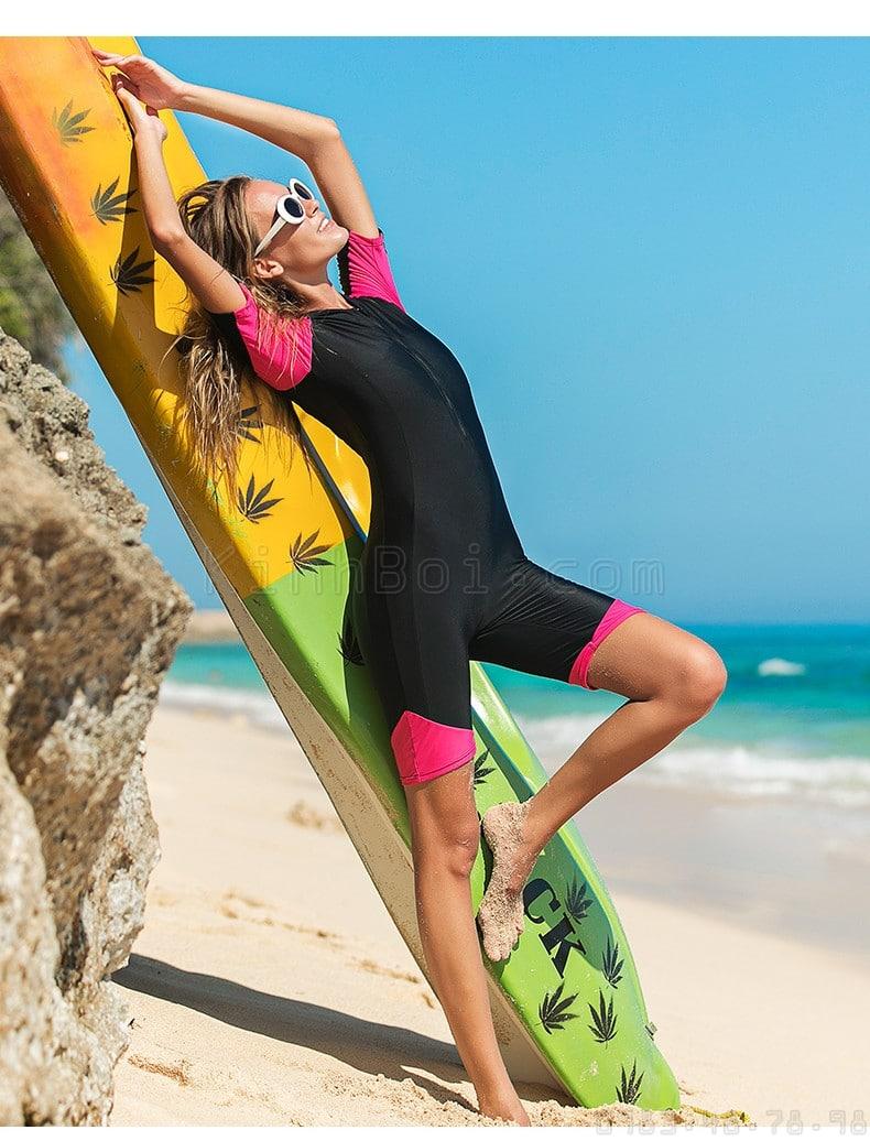 Đồ bơi nữ che bụng Sbart D13-61 Đen Hồng